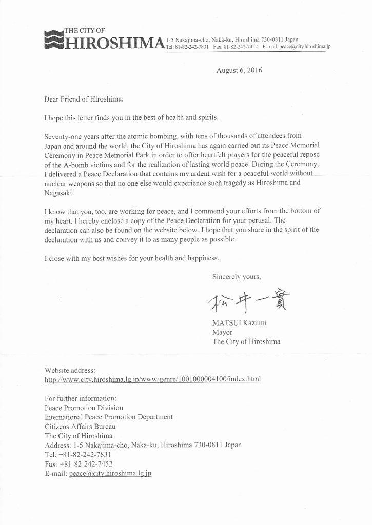 HIroshima Letter