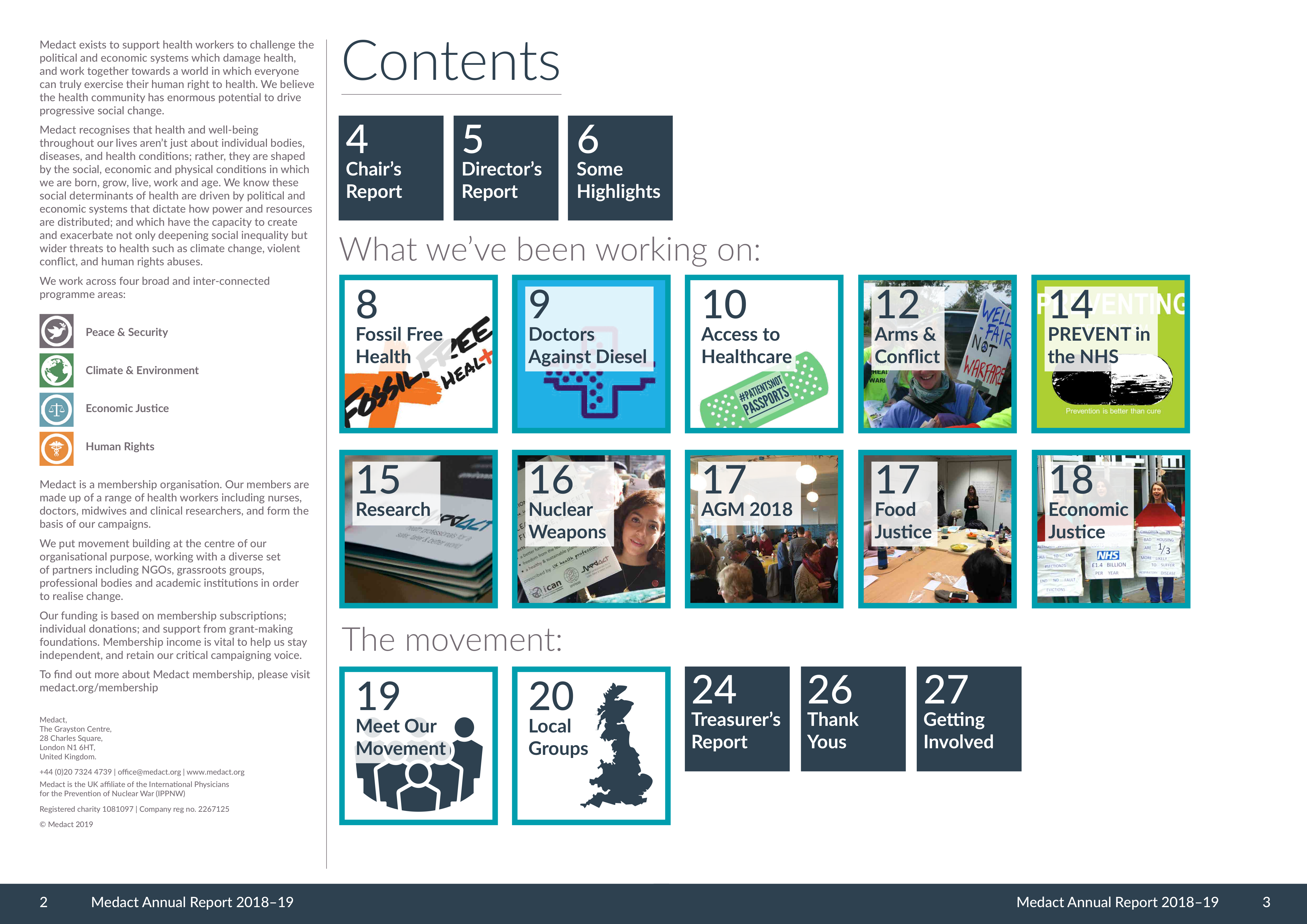 contents page of report with pictures of major work areas